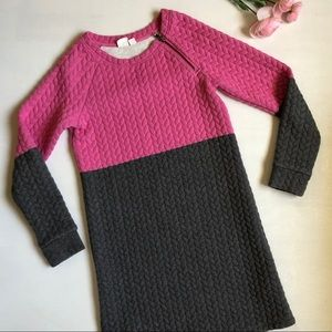 GAP pink grey cable knit fall winter sweater dress